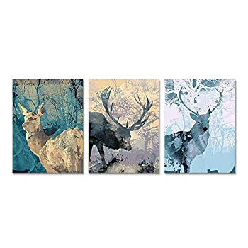 ArtBones Deer Canvas Wall Art Wild Animal Forest Elk Pictures Canvas Prints Framed Artwork Farmhouse Cabin Wall Decor