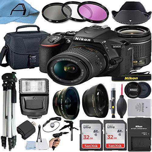 Nikon D5600 DSLR Camera 24.2MP Sensor with NIKKOR 18-55mm f/3.5-5.6G VR Lens, 2 Pack SanDisk 32GB Memory Card, Bag, Tripod, Slave Flash Light and A-Cell Accessory Bundle (Black)