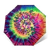 Grate-Ful Dead Dancing Bear Windproof Automatic Retractable Folding Lightweight Umbrella Travel Umbrella