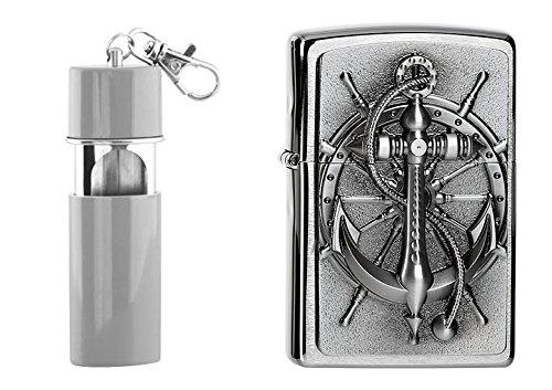Zippo Nautic Emblem Plus kostenlosen Feuerzeug mit Taschenaschenbecher, Chrom, Silber, 6 x 3.5 x 2 cm