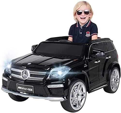 Actionbikes Motors - Auto elettrica per bambini Mercedes Benz GL63 - sedile in similpelle- licenza - motore 2x30 Watt - da 3 anni (Nera)