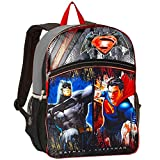 Batman Superman Backpack for Boys Kids ~ Premium 16' Superhero Backpack (Superman & Batman School Supplies)