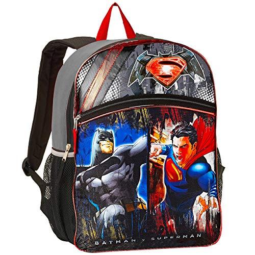 Batman Superman Backpack for Boys Kids ~ Premium 16' Superhero Backpack (Superman & Batman School Supplies)