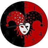 lautlosem Uhrwerk - 30 cm Rund Wanduhr,Harlekin Karnevalshut Maske Verschiedenes Gesicht Sterne Maskerade Performance Poster Schwarz Rot Clown,für Wohn- /Schlaf-Kinderzimmer Büro Cafe Restaurant