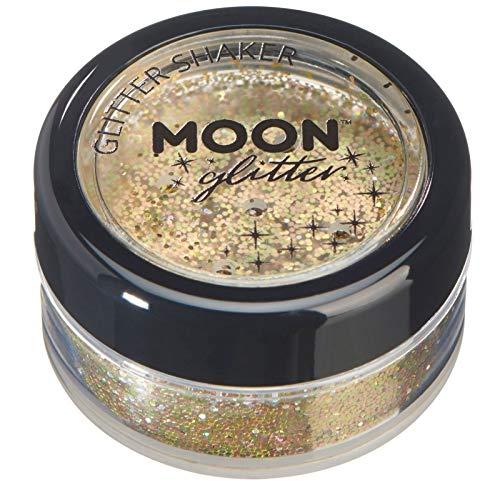 Holographic Glitter Shakers par Moon Glitter - 100% cosmétiques paillettes pour le visage, le corps, les ongles, les cheveux et les lèvres - 5g - Or
