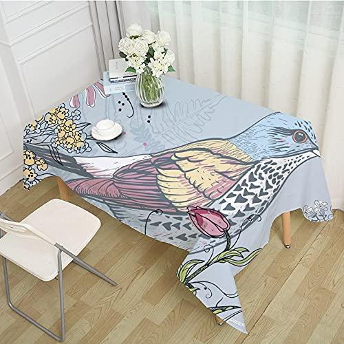 XXDD Impresión de pájaros de Dibujos Animados Cubierta de Mesa Cuadrada Mantel cojín Comida a Prueba de Polvo y Anti-escaldaduras decoración del hogar A4 140x140cm