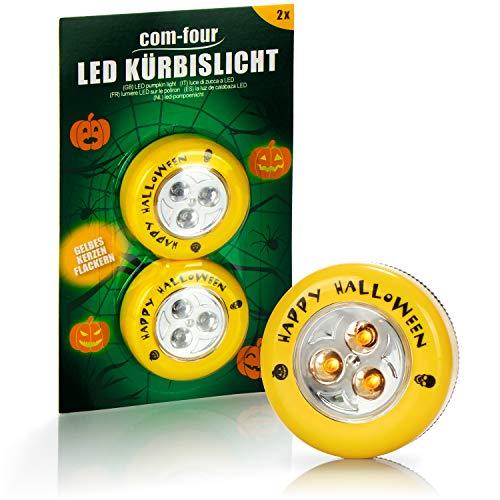 com-four® 2X LED-Licht für Halloween - Blinkende Kürbis LED Lichter für ausgehölte und Geschnitzte Kürbisse - Kürbis-Lampe für Halloween (gelb)