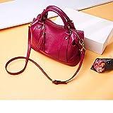Heqianqian - Bolso de mano para mujer, ajustable, de piel, con asa superior, estilo retro, vintage, con compartimentos, color rojo, piel sintética, Rojo, 20x13x35cm