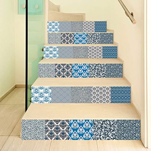 WANMEI Juego de 6 pegatinas autoadhesivas para escaleras, diseño de flores 3D, para escaleras, resistente al agua, PVC, 6 unidades