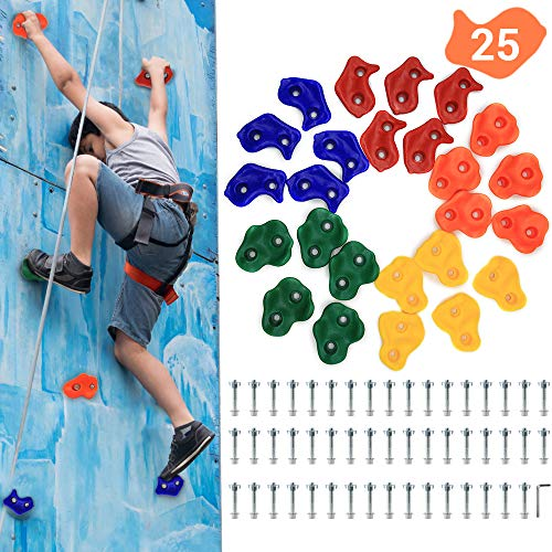 """AmazeFan 25 DIY Rock Climbing Holds for Kids & Adults, Climbing Wall Grip Kits for Outdoor Indoor Home Playground with Mounting Hardware for Up to 2"""" Installation"""