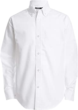 Long Sleeve Solid Button-down Oxford Shirt