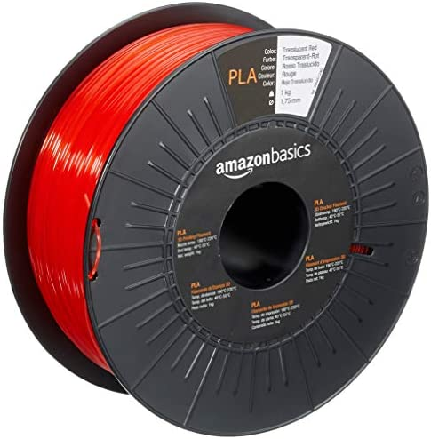 Amazon Basics PLA 3D Printer Filament 1 75mm Translucent Red 1 kg Spool product image