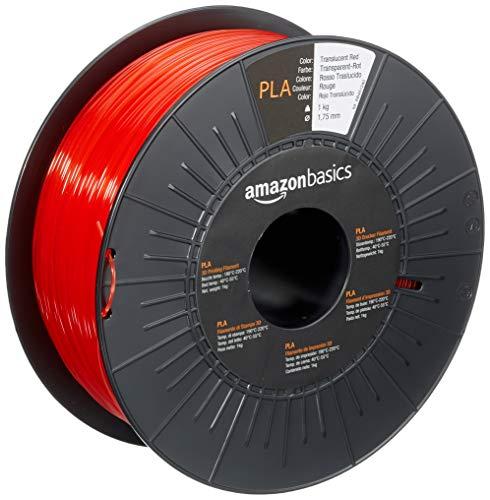 Amazon Basics - Filamento per stampanti 3D, in polilattato (PLA), 1,75mm, rosso traslucido, 1 kg per bobina