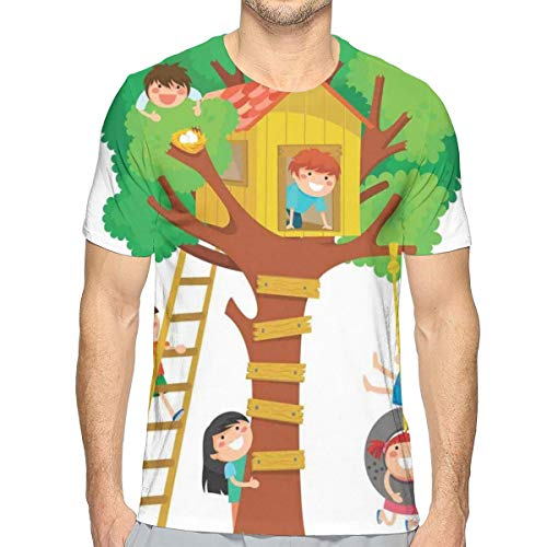 3D Printed T Shirts,Cheerful Boys and Girl Playing In A Tree House Happy Childhood Friends Cartoon,Mens Casual Short Sleeve Fashion Summer T-Shirt,Size:L