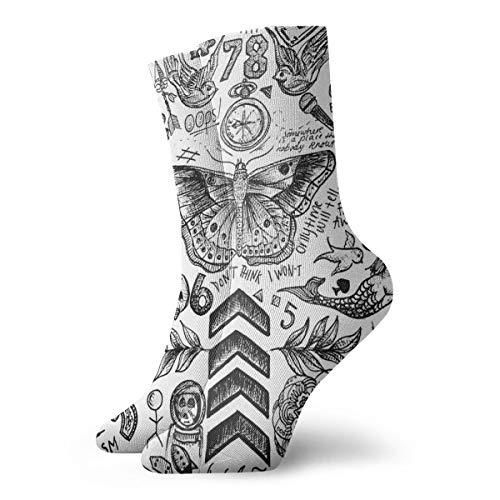 One Direction Tattoos, niedliche Sportsocken zum Wandern, Wandern, Outdoor-Freizeit-Socken, Wicking Cushion Crew Socken für alle Jahreszeiten