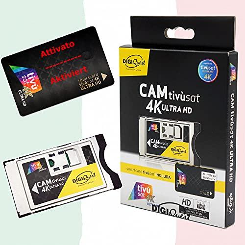 TiVuSat 4K UHD Black Karte & EasyMouse 4K Ultra HD SmartCam von DIGIQuest - UHD CI+ Modul inklusive aktievierte TiVuSat 4K UHD, italienische HD/ 4K Kanäle über Satellit Eutelsat HotBird 13,0° Ost
