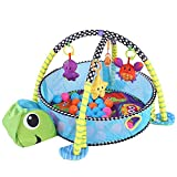 Greensen Baby Spieldecke mit Spielbogen Kids Krabbeldecke Baby Spiel Aktivität Gymnastikmatte mit Zaun Crawling Teppich mit Safety Guard Mesh Bunte Bälle Spielzeug Lernmatte