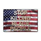 N\A Alfombra de área Stop Killing Black People Slogan Antideslizante Comfort Mat Alfombras de Piso Alfombras para Sala de Estar Dormitorio Sala de Estudio