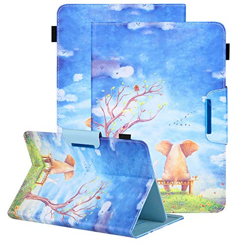Universal 8.0 inch Tablet Case, Uliking Magnetic Closure Flip Stand Cover with Card/Cash Slots for iPad Mini/Galaxy Tab 8.0 Tablet/Kindle Fire HD HDX Other 7.5-8.5 Inch Tablet - Elephant Rabbit