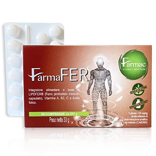 FarmaFer integratore Ferro | 60 pastiglie con Ferro, Vitamine A, B2, C e Acido Folico | Ferro Liposomiale: Sapore gradevole, maggiore assorbimento e biodisponibilità