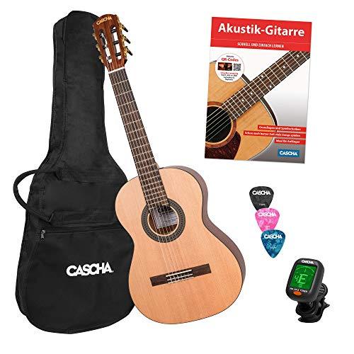 CASCHA 3/4 Konzertgitarre Einsteiger Set, inkl. Lehrbuch, Stimmgerät, Gigbag/Tasche, 3 Plektren, klassische Kindergitarre ab 8 Jahren für Anfänger, Classic Guitar, Nylonsaiten