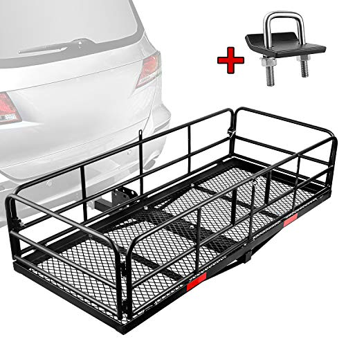 "Leader Accessories Hitch Mount Cargo Basket With High Side Foldable Cargo Carrier Luggage Basket 59"" X 24"" X 14"" with 360 LB Capacity Fits 2"" Receiver"