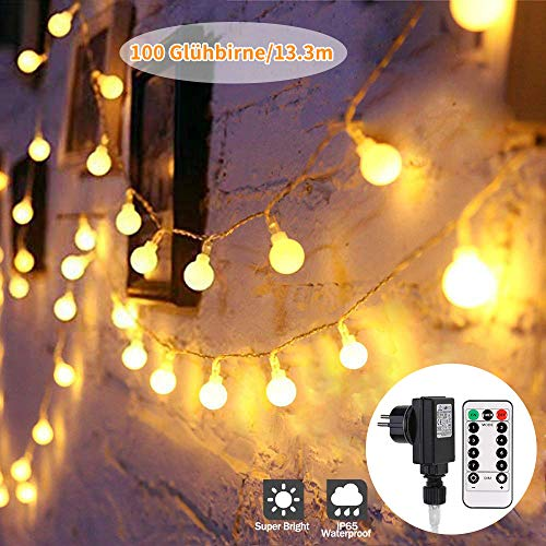 100 LED Glühbirne Lichterkette Warmweiß outdoor, 13.3 m GreenClick Innen und Außen Lichterkette mit Fernbedienung,Globe Lichterkette strombetrieben,Lichterkette für Balkon, Party, Weihnachten,Garten