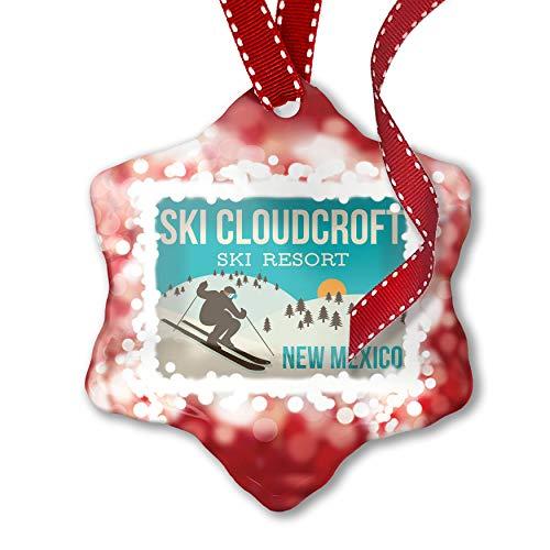 NEONBLOND Christmas Ornament Ski Cloudcroft Ski Resort - New Mexico Ski Resort, red