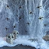 DOCOO Telaraña Halloween,Halloween Decoracion Telaraña,120 Gramos de Telaraña + 40 Arañas,Jardines Interiores y Exteriores,Césped,Casas Encantadas,Escenas de Terror,Decoración de Fiesta