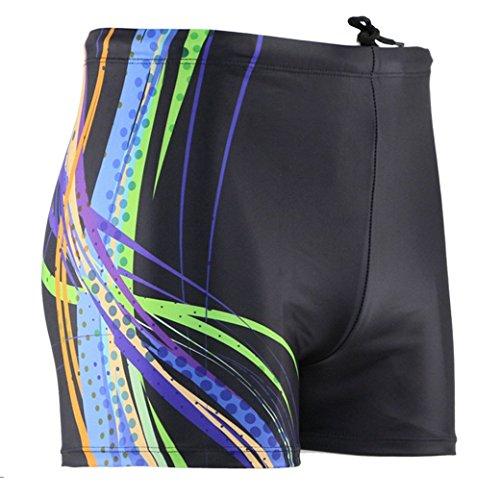 Panegy Herren Badehose Polyester Sommer Badeshorts Sexy Streifen Punkte Männer Schwimmhose Short Badehosen Boxer Brief asiatische Größe XL - Schwarz