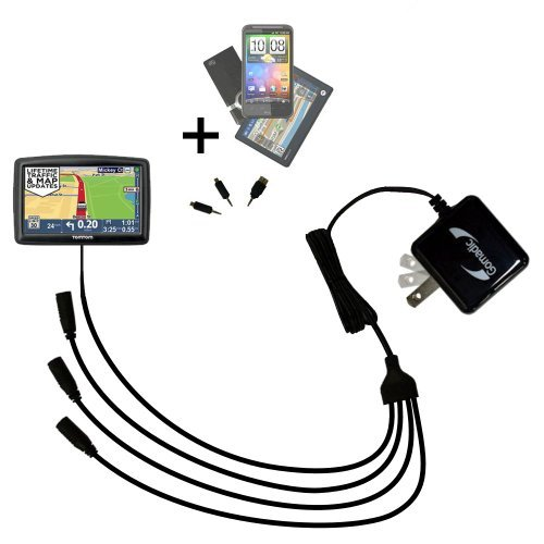 Quad 4-Port Wall Charger with Included tip for The Tomtom Start 45 45M 45TM 55 55M 55TM a Compact Design with flip Out prongs - Uses TipExchange Technology to Charge up to Four Devices simultaneously