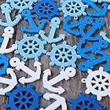 VOSAREA WINOMO 100pcs Ancoraggio e timone Ciondoli in Legno Scrapbooking casa Bottoni Decorativi