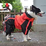 Lovelonglong Border Collie Dog Hooded Raincoat, Collie Rain Jacket Poncho Waterproof Clothes with Hood Breathable 4 Feet Four Legs Rain Coats for Border Collies Large Dogs Red L-M+