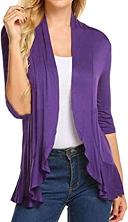 SHOWNO La Mujer Casual Color sólido Irregular 1/2 Manga Open Front Cardigan Blusa