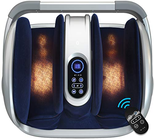 Miko foot massager shiatsu machine with multi-pressure settings, vibration, deep-kneading, heat and wireless remote- alleviate discomfort from plantar fasciitis, neuropathy, diabetes fits up to size15