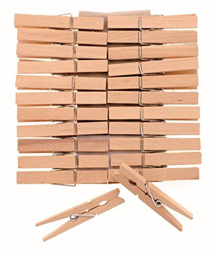 Glorex 6 2200 653 - Wäscheklammern aus unlackiertem Birkenholz, ca. 72 mm, 24 Stück, ideal zum Basteln und Dekorieren, für Fotoleinen, Tischkärtchen, Grußkarten