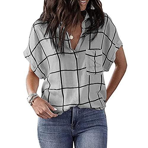 Primavera y Verano Camisa Suelta de Manga Corta con Cuello en V y Bolsillo Estampado a Cuadros para Mujer