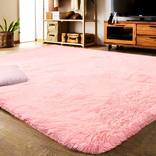 LOCHAS Area Rugs for Living Room, Fluffy Shaggy Super Soft Carpet Suitable as Bedroom Rug Nursery Rugs Kids Mat, Large Floor Mat Furry Plush Rug for Home Decor 120 X 160cm Pink