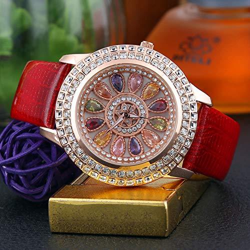 WZFCSAE Orologio da Donna Coreana con Diamante Pieno Orologio Casual da Uomo con Cinturino in Pelle Color Diamante Orologio da Donna Britannico Rosso