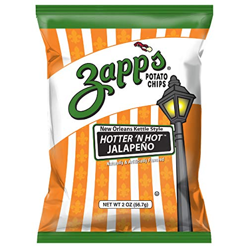 Zapp's New Orleans Kettle-Style Potato Chips, Hotter 'n Hot Jalapeno – Crunchy Chips with a Spicy Kick, Great for Lunches or Snacking on the Go, 2 oz. Bag (Pack of 25)