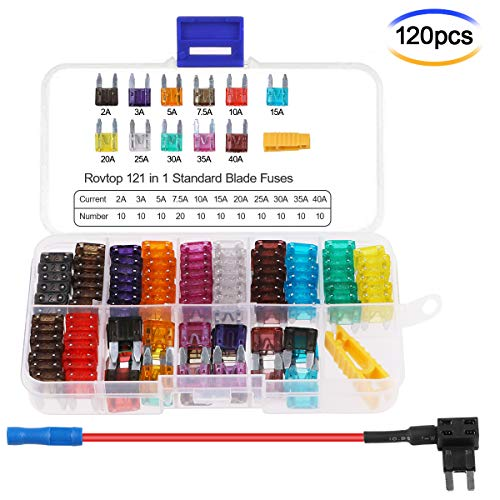 Hootracker 120pcs Mini Fuse Set 3A 5A 7.5A 10A 15A 20A 25A 30A 35A 40A Blade Fuse Mini with Fuse Holder Inline 1 Fuse Puller