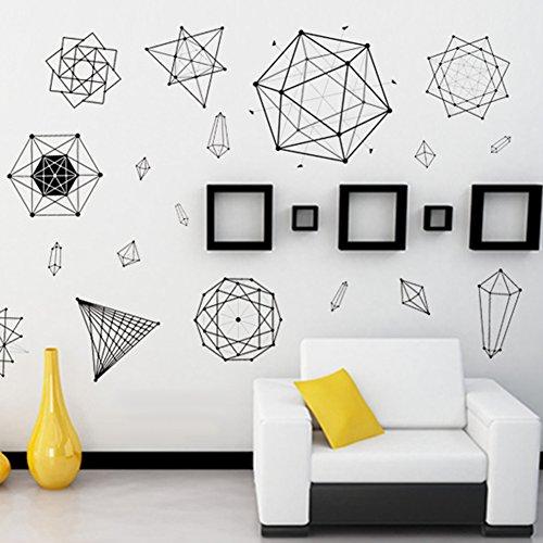 Bodhi2000 Wall Sticker, Vinilo decorativo minimalista para pared con patrón geométrico para decoración del hogar, sala de estar, dormitorio