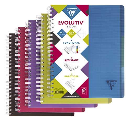 Clairefontaine 329155C Evolutiv Book (mit Register, DIN A4, 21 x 29,7 cm, kariert, 120 Blatt) 1 Stück farbig sortiert