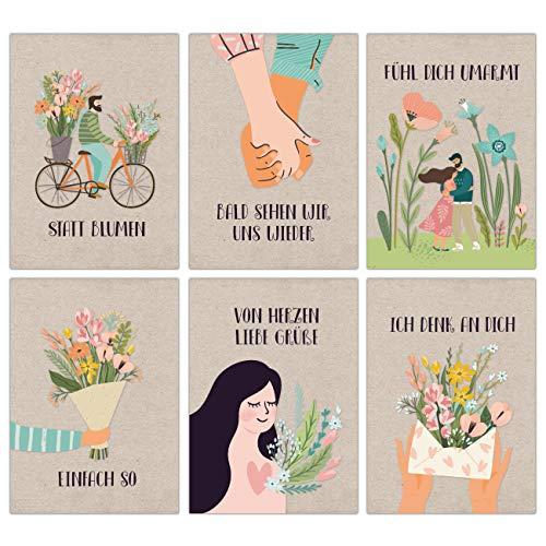 12 Postkarten mit Blumengruß - Grußkarten für Kinder und Erwachsene - Grüße an Oma, Opa und Freunde in der Ferne senden - Bald sehen wir uns wieder