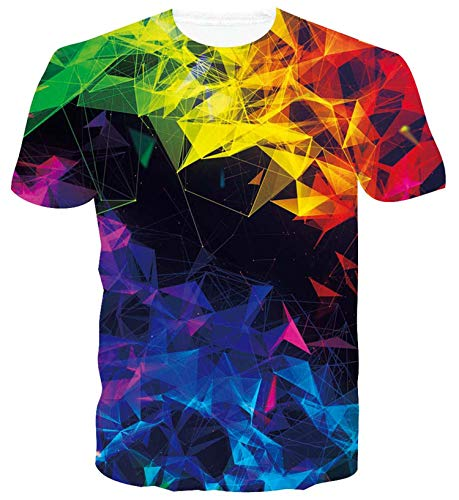 ALISISTER Herren Damen Coole T Shirts 3D Lustige Geometrie Print Tshirt Beiläufig Sommer Kurzarm Neuheit Party Tee Shirts Tops L