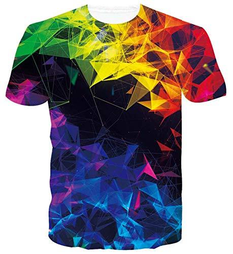 ALISISTER Tshirt Herren Damen Lustiges 3D Geometrie Druck Kurzarm T-Shirts Beiläufig Sommer Rundhals Hawaii Tee Tops Bunt S
