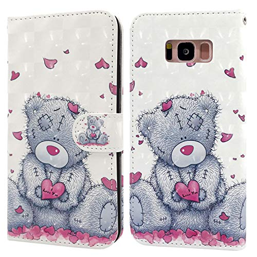 Ailisi Samsung Galaxy S8 Case, 3D visual Cute Love heart Teddy bear Leather wallet flip case magnetic protective cover with shockproof TPU, Stand function, Card Slots +1 pcs Lanyard Strap