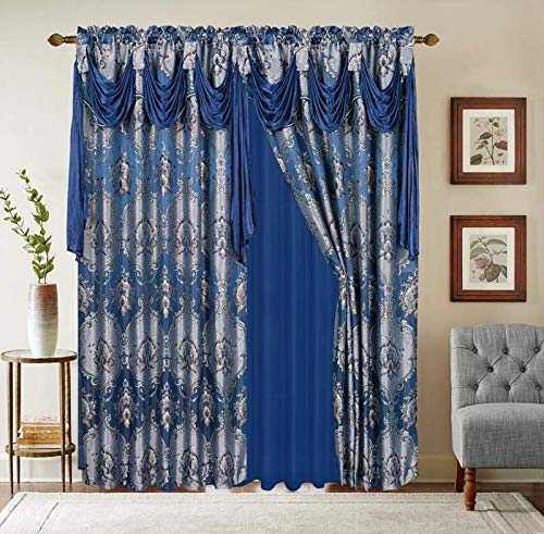 """Jacquard Window 84 Inch Length Curtain Drapes w/attached Valance Scarf + Sheer Backing + 2 Tassels, Traditional 84"""" Floral Curtain Drape for Living/Dining rooms, Rod Pocket (Elisa, 84, Navy Blue)"""