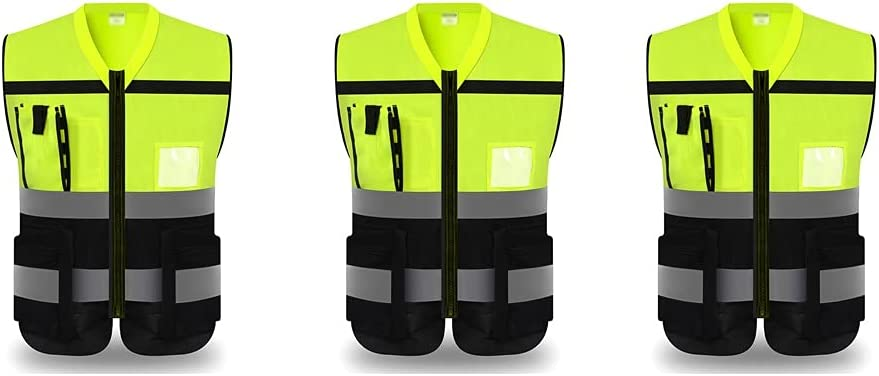 lhl Max 84% OFF Bright Reflective Vest Zipper High 35% OFF Safety Mu Visibility