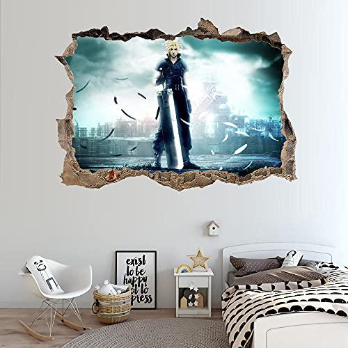 WNJK Pegatinas de Pared,Juego Final Fantasy Cloud Strife 3D Póster Sala De Estar Extraíble Papel Tapiz Impermeable Decoración del Hogar Arte De La Pared Estilo C 90 * 60 Cm